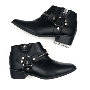 Lane Bryant Black Moto Harness Ankle Booties